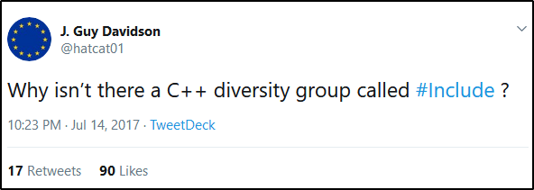 Why isn't there a C++ diversity group called #Include ?